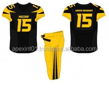 4b445a35a94 2018 Wholesale Custom Made Polyester Yellow Black Capless Sleeve American Football  Uniform  American Football Jersey