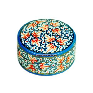 Custom made Indian Kashmiri Paper Mache box of round shape and customized painting