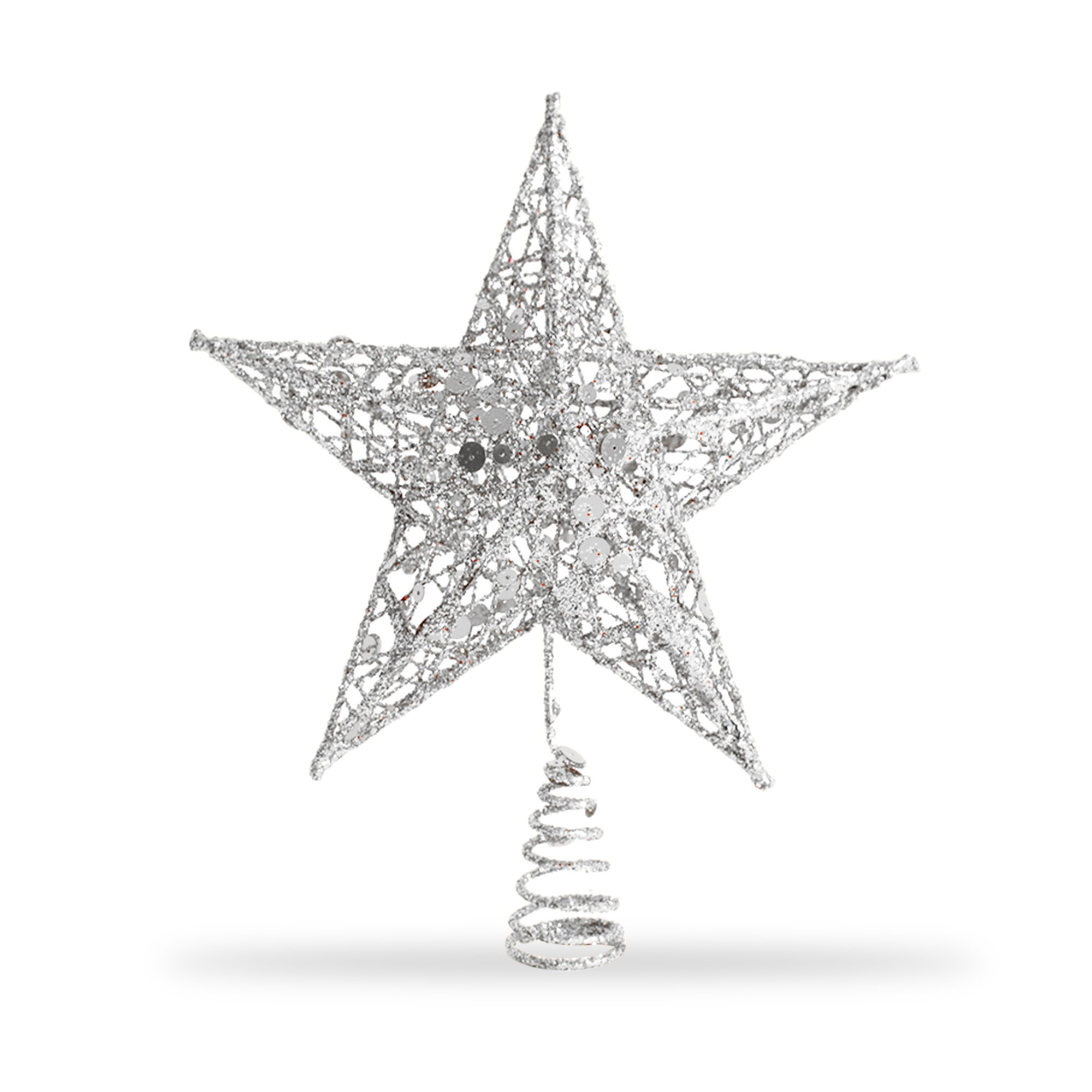Star Tree Topper, Exquisite Shimmery 8-inch x 6-inch Star Christmas Tree Topper Christmas Tree Decoration 5 Point Star Treetop Decor (Silver)