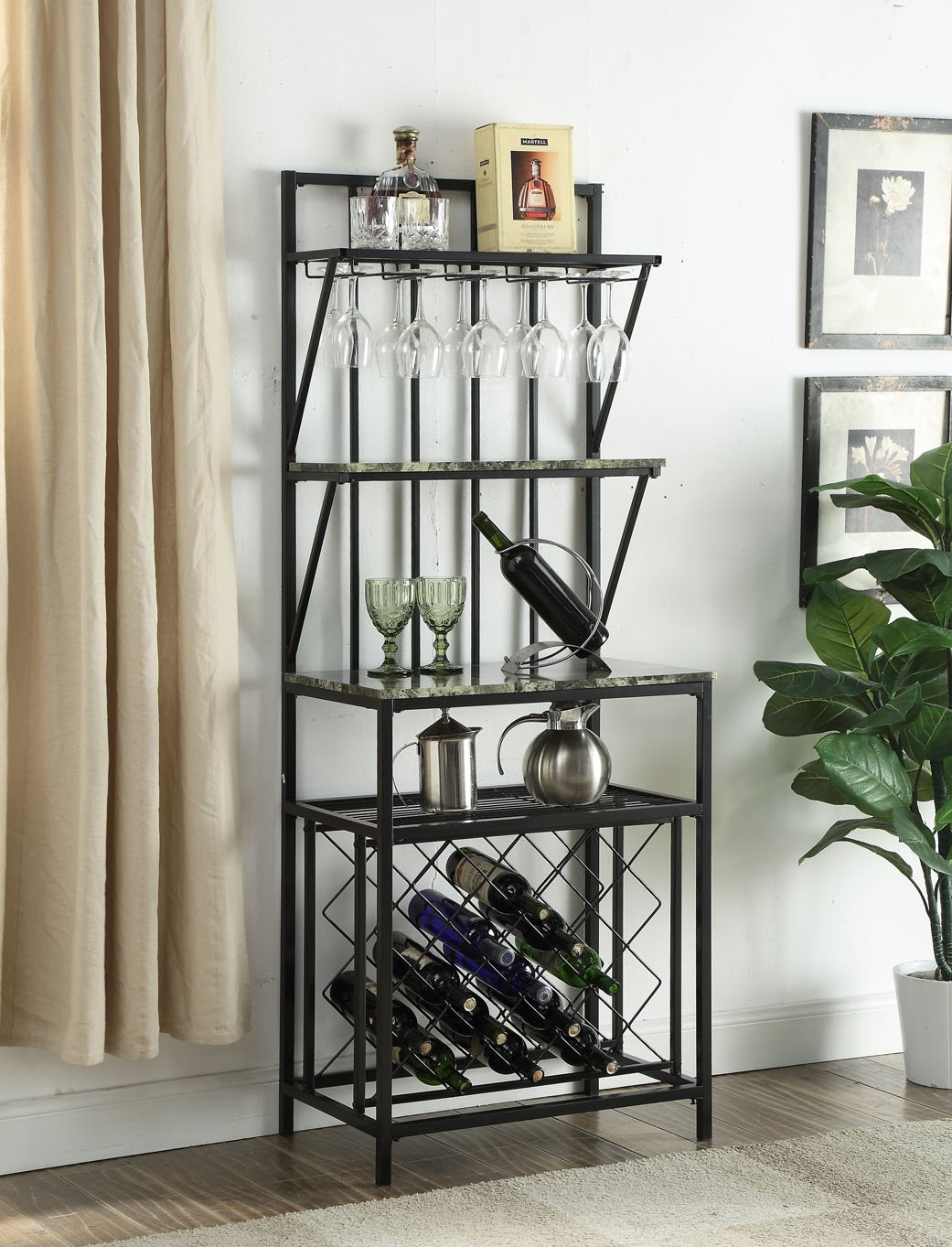 4-tier Black Metal Marble Look Finish Shelf Kitchen Bakers Rack Scroll Design with 20 Bottles Wine Storage