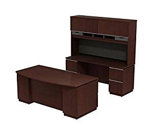 "Bush Executive Desk, Hutch & Credenza 72""W X 102""D X 73""H Bundle Includes: 72""W X 36""D Bowfront Double Ped Desk (F/F) (B/B/F) W/72""W Credenza (F/F)(F/F) & Hutch - Harvest Cherry"