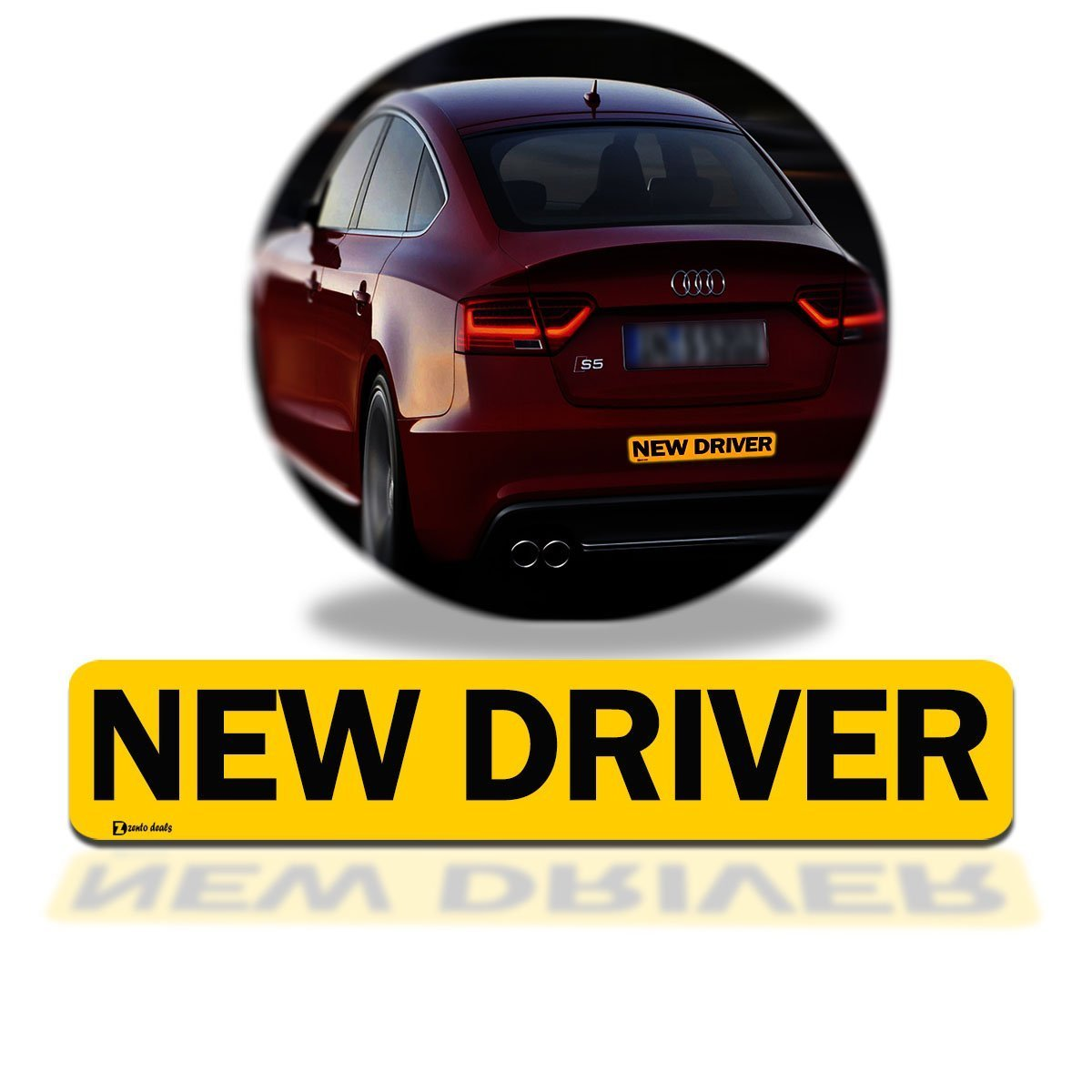 """Zento Deals """"New Driver"""" Car Magnet Black Block Lettering on Yellow Background 3"""" X 12"""" 1 Pack"""