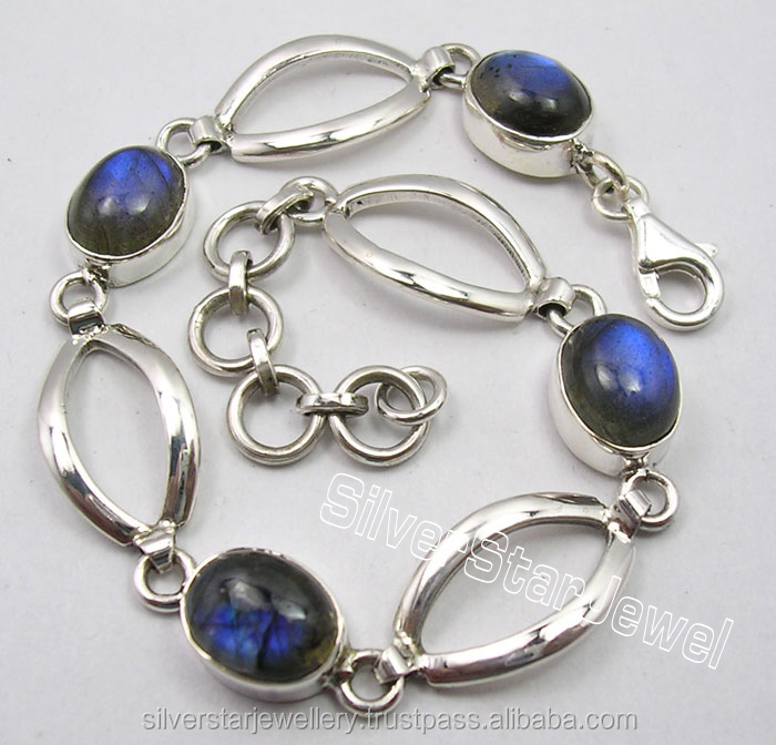 "925 Sterling Silver Amazing BLUE FIRE LABRADORITE STUNNING Bracelet 7.7"" Stone Women Jewellers Designs"