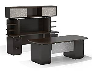 "Mayline Executive Office Suite Desk: 72""W X 36""D X 29.5""H Credenza: 72""D X 24""D X 71""H Hand-Crafted 1 5/8"" Thick Surface W/Knife Edge Detail - Textured Mocha"