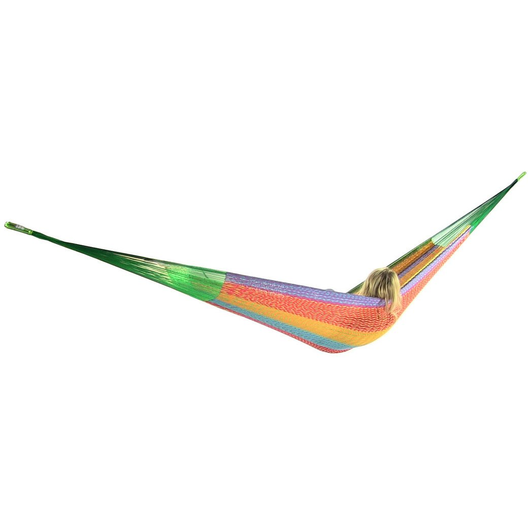 Sunnydaze Portable Mayan Hammock Hand-Woven, Family Size, 660 Pound Capacity, Multi-Color