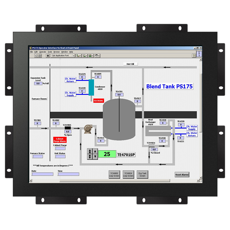 "12.1"" TFT-LCD Water-proof and Open frame 10points screen monitor with VGA and DVI , HD-MI - optional"