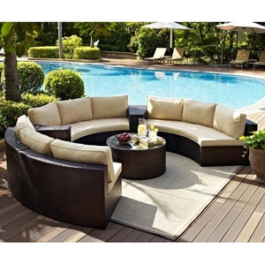 Patio round wicker sectional outdoor furniture rattan garden sofa sets