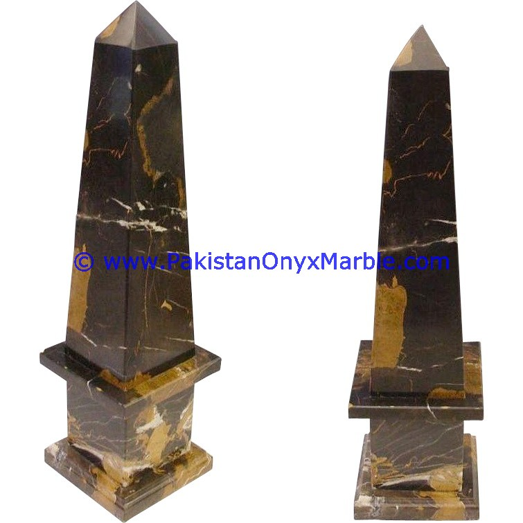 MARBLE OBELISKS BLACK AND GOLD MARBLE HANDCRAFTED
