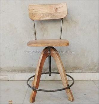 Industrial Wooden Metal Cafe Chair,Vintage Industrial Metal And Wood  Counter Chair, Industrial Chair