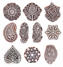 Hashcart Handmade Indian Wooden Handicraft Printing Blocks Wooden Stamps