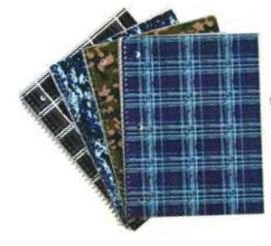 Emraw Legacy Notebook Spiral with 60 Sheets of Wide Ruled White Paper - Set Includes: Black & White Plaid, Blue Plaid, Blue Digi Camo & Green Camo Covers (4 Pack)