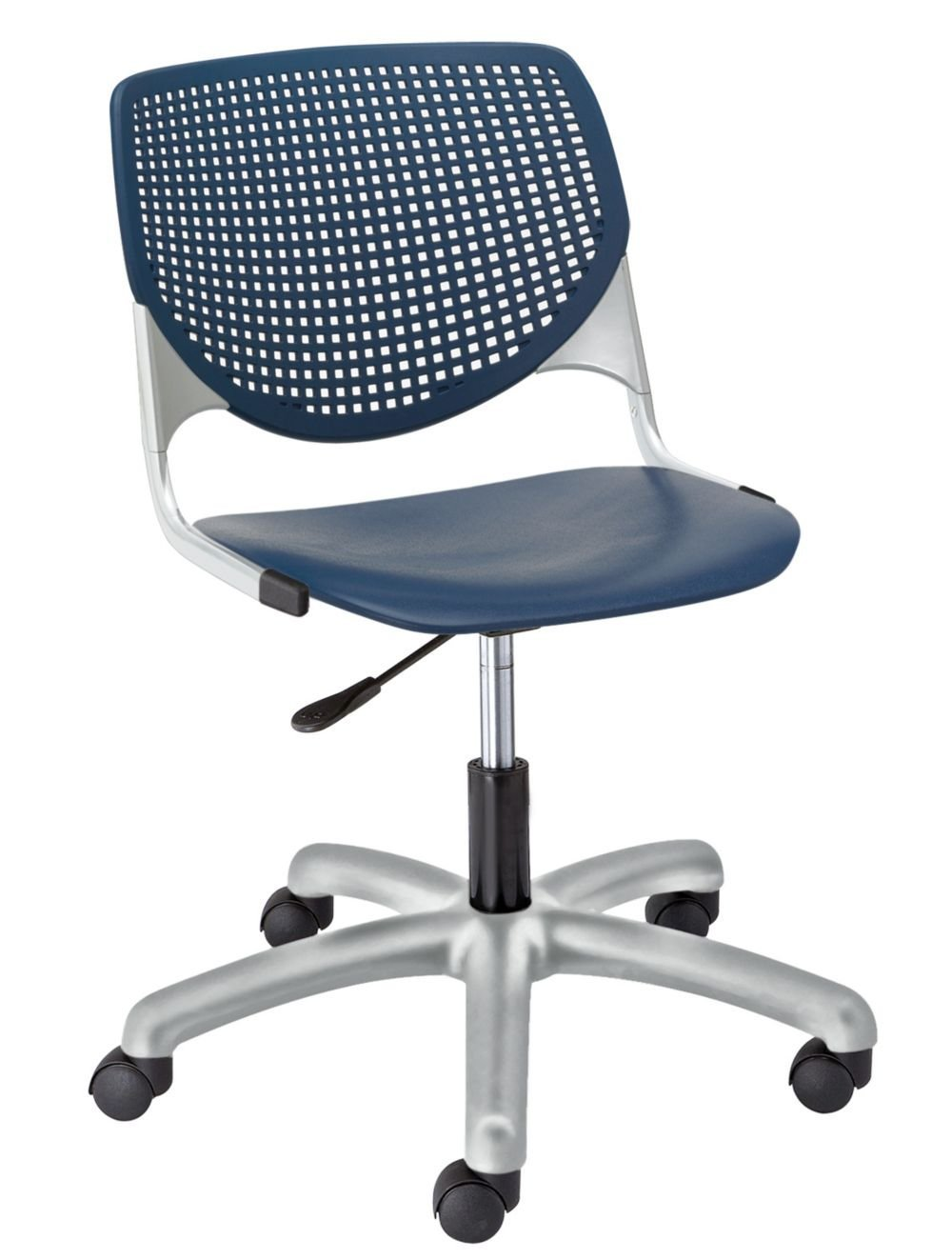 """Kool Polypropylene Perforated Back Task Chair Navy Polypropylene/Silver Frame Dimensions: 19.3""""W x 22""""D x 35""""H Seat Dimensions: 18""""Wx18""""Dx18""""H Back Dimensions: 19""""Wx13.5""""H Weight: 27 lbs"""
