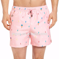 Wholesale Customize Swimwear With Popsicle Printing Pink Swim Trunks 100% Polyester Mens Swim Short