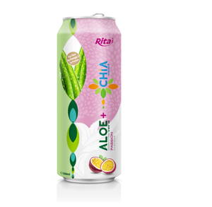 Passion Fruit Flavor 500ml Canned Aloe Vera Drink with Chia Seed for Private Label Aloe Vera Drink