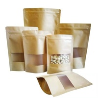 High quality waterproof kraft paper stand up zipper bamboo packaging bags for food