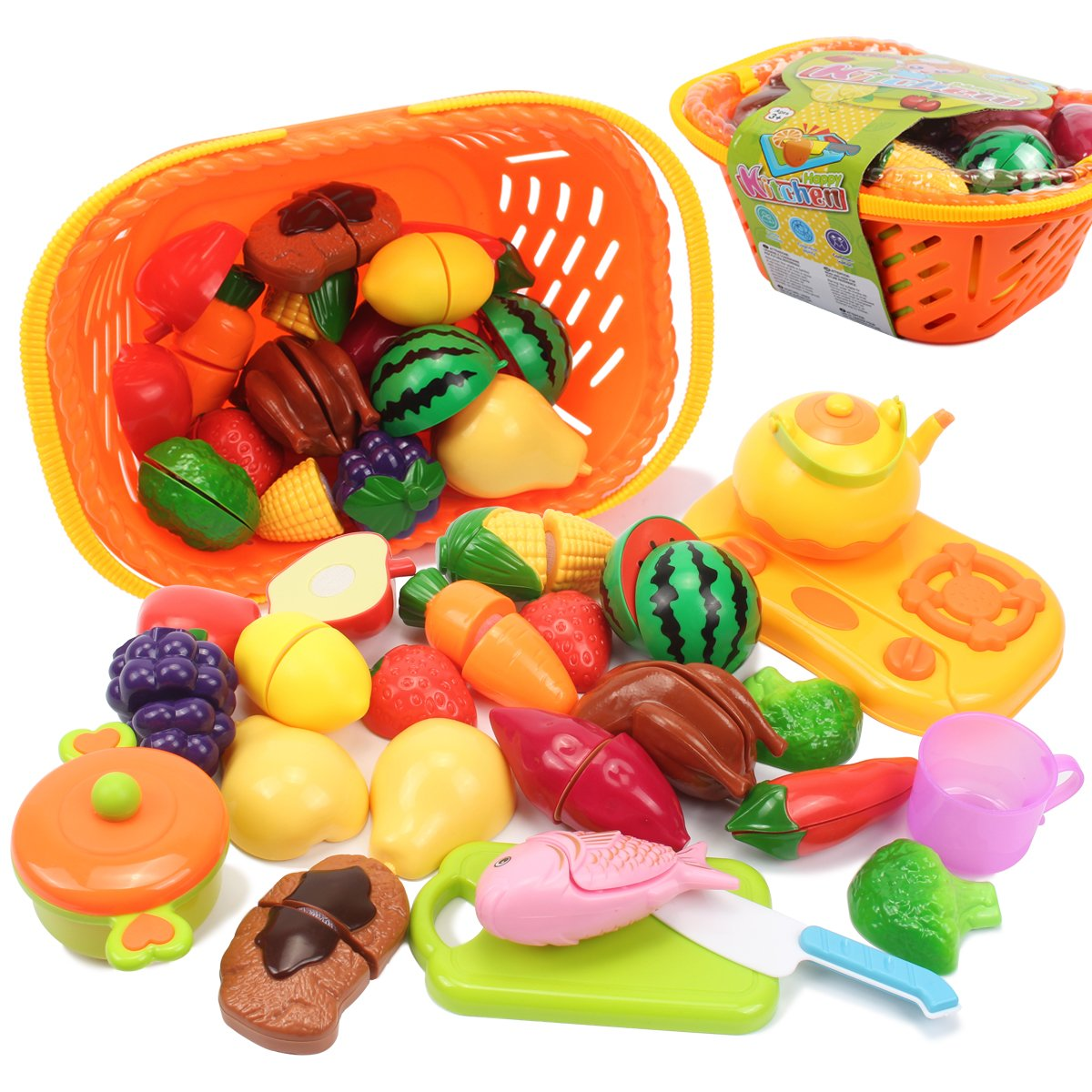 AMOSTING Kids Pretend Food Play Kitchen Toys for Kids, Plastic Food Fruit Cutting Set for Kids Play Kitchen Set, 20 Piece Play Food for Kids Kitchen Play Food Early Educational Toys