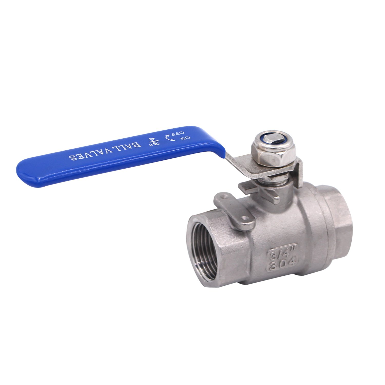 """Dernord Full Port Ball Valve Stainless Steel 304 Heavy Duty for Water, Oil, and Gas with Blue Locking Handles (3/4"""" NPT)"""