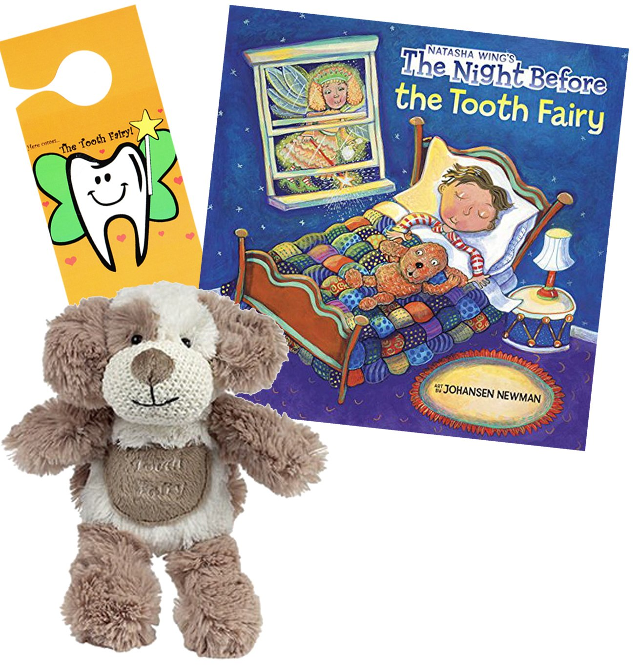 Dog Tooth Fairy Pillow w/ Tooth Fairy Book Night Before the Tooth Fairy & Door Hanger Gift Set