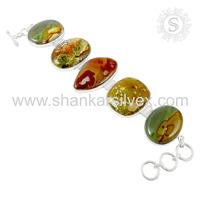 Indian summer beauty amazonite gemstone bracelet 925 sterling silver bracelet silver jewelry exporter
