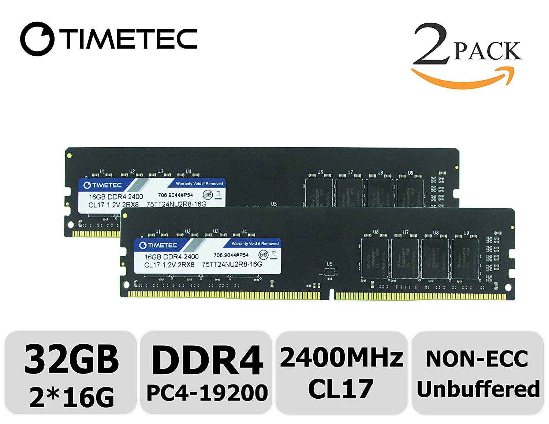 Timetec Hynix IC 32GB Kit (2x16GB) DDR4 2400 MHz PC4-19200 Non-ECC Unbuffered 1.2V CL17 2Rx8 Dual Rank 288 Pin UDIMM Desktop PC Computer Memory Ram Module Upgrade (32GB Kit (2x16GB))