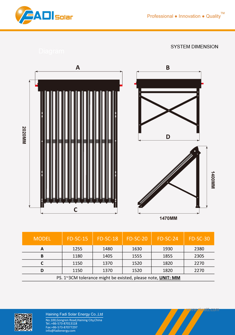 6 tubes mini solar collector (24mm condenser heat pipe type)