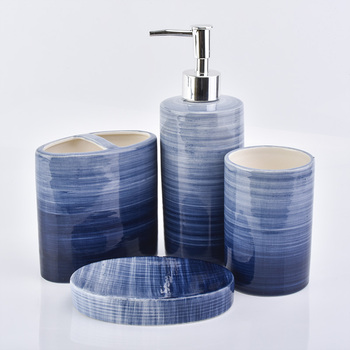 Blue circle gradient pattern ceramic bathroom set of 4 include soap dish toothbrush holder lotion dispenser tumbler