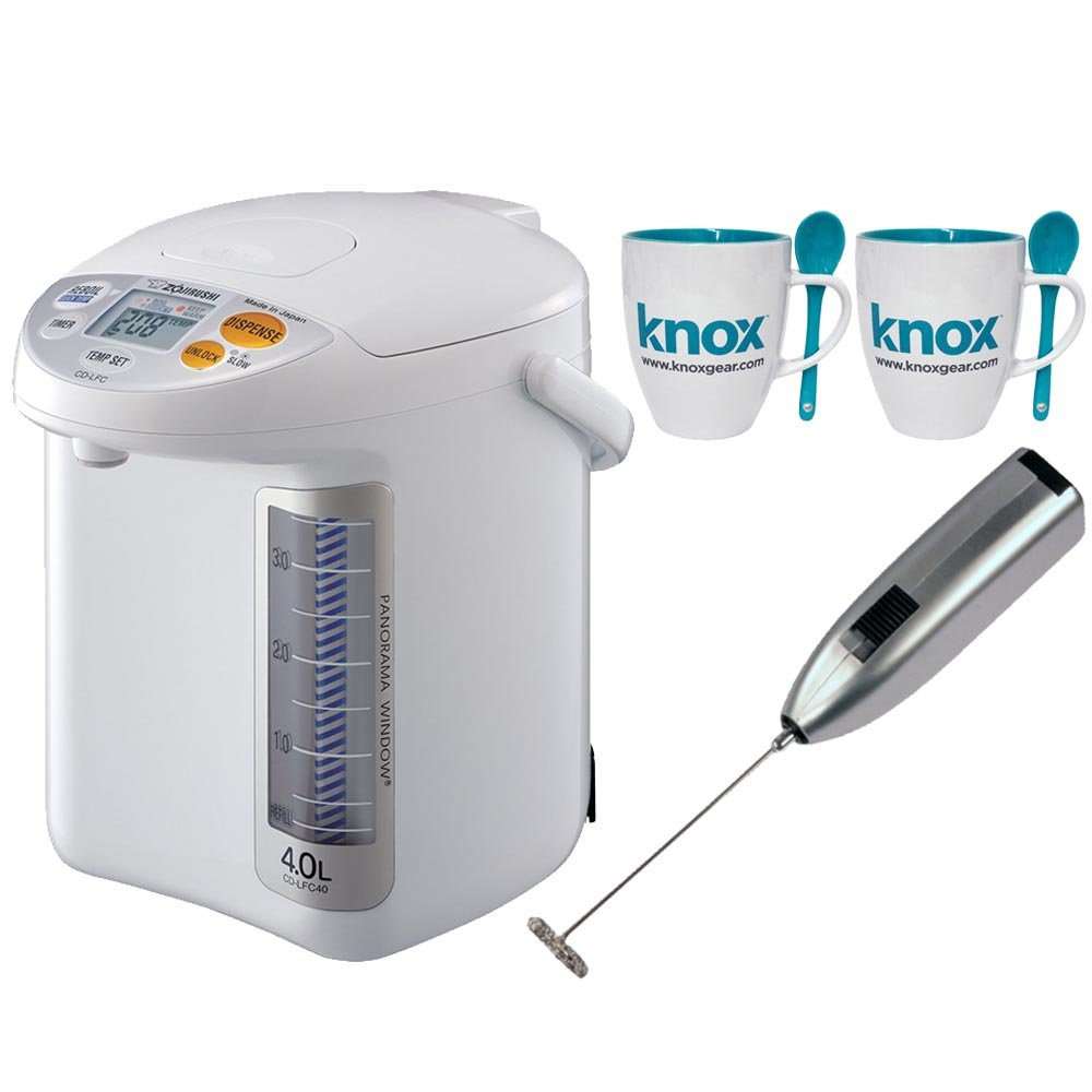 Zojirushi CD-LFC40 Panorama Micom Water Boiler and Warmer + 2 Free Mugs and Milk Frother