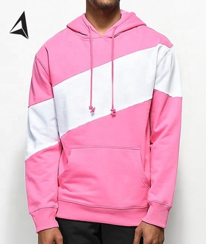 Pink white color block hoodie / Men Custom Thick Heavy Fleece Street Style Plain Hoodies Sweatshirt