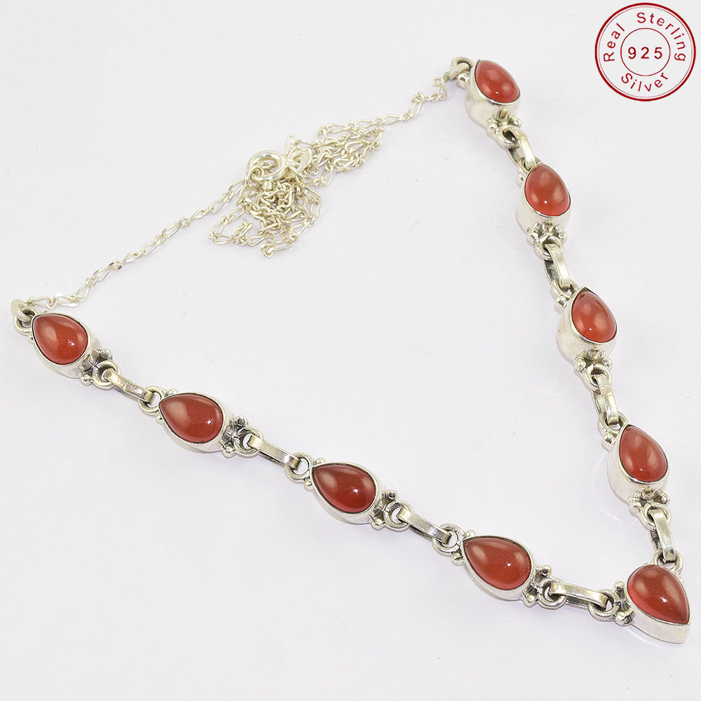 Beautiful beaded design gemstone silver jewelry red onyx necklace 925 sterling silver necklace jewelry
