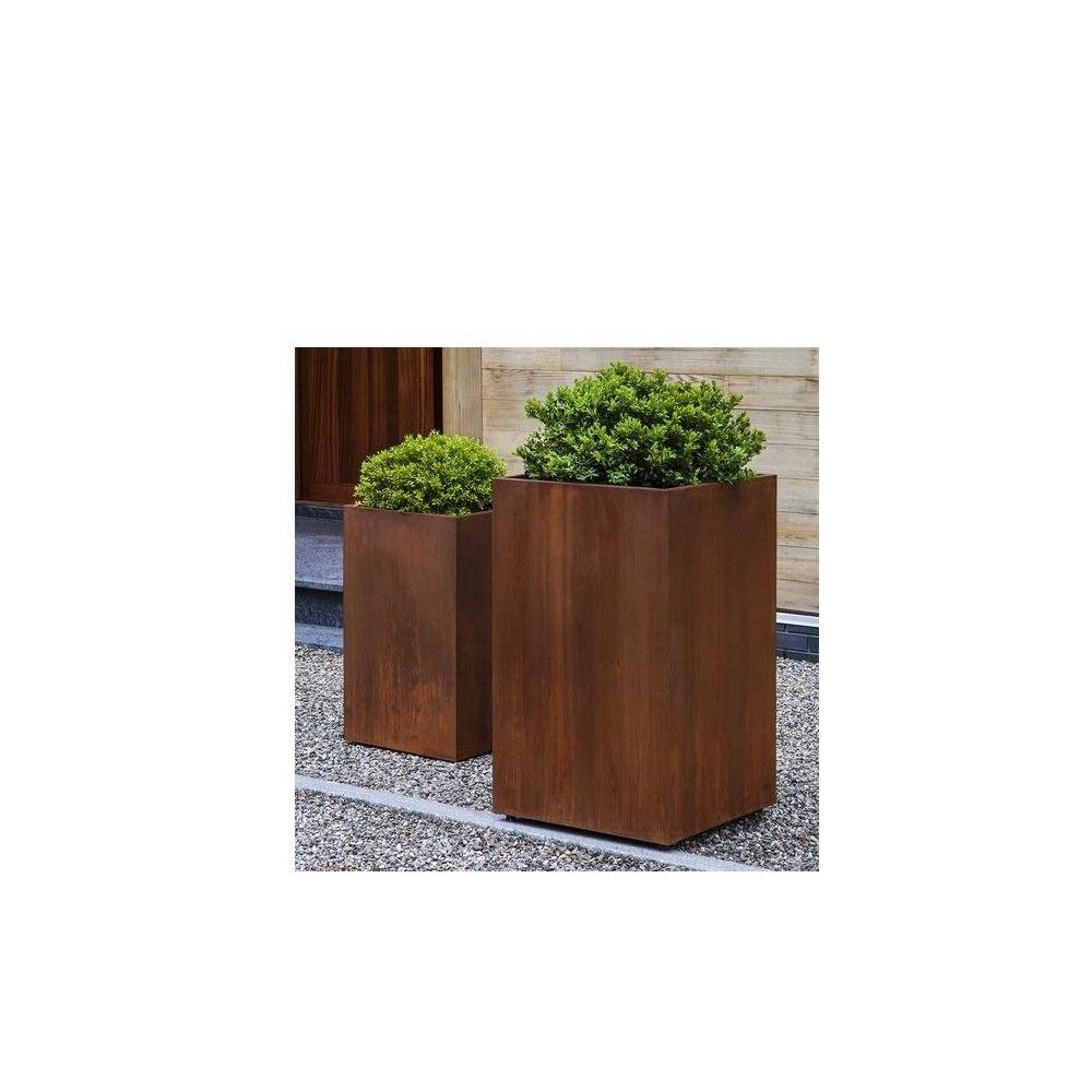 Tall Cube Indoor Outdoor Metal Planter Rust Steel Buy Tall