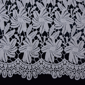 Mesh polyester lace Fabric White Flower Embroidered Lace material for girls dress