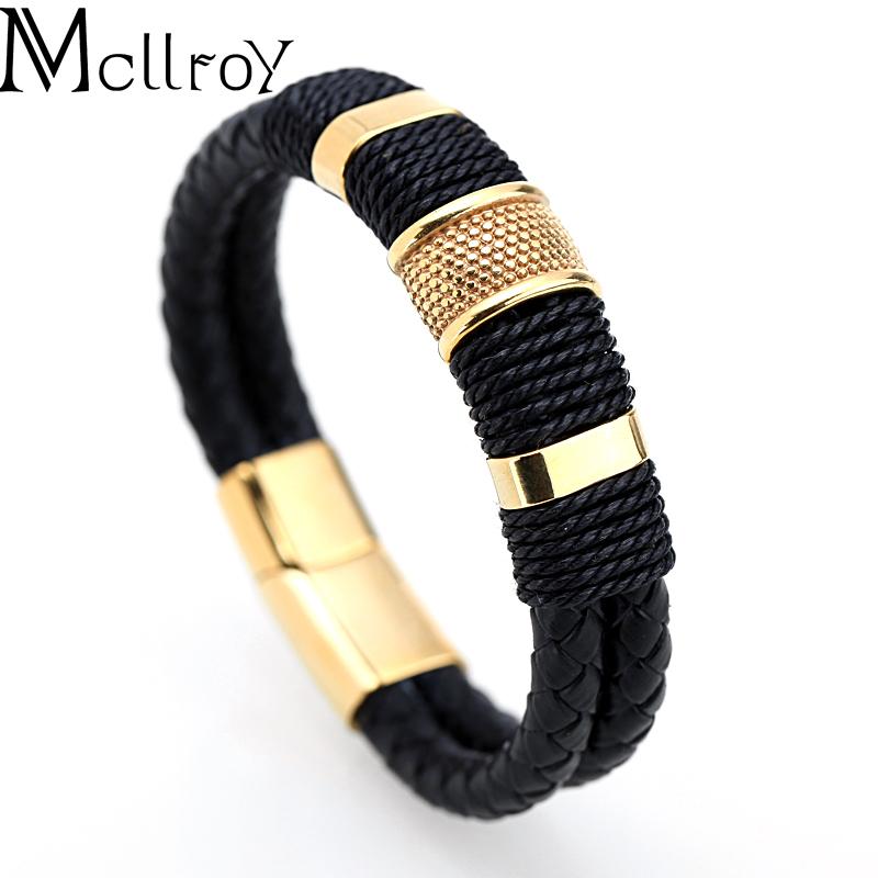 Mcllroy Fasion 316L pulseira de aço inoxidável Para homens Pulseiras de couro personaliza logotipo pulseira de couro trançado jóias