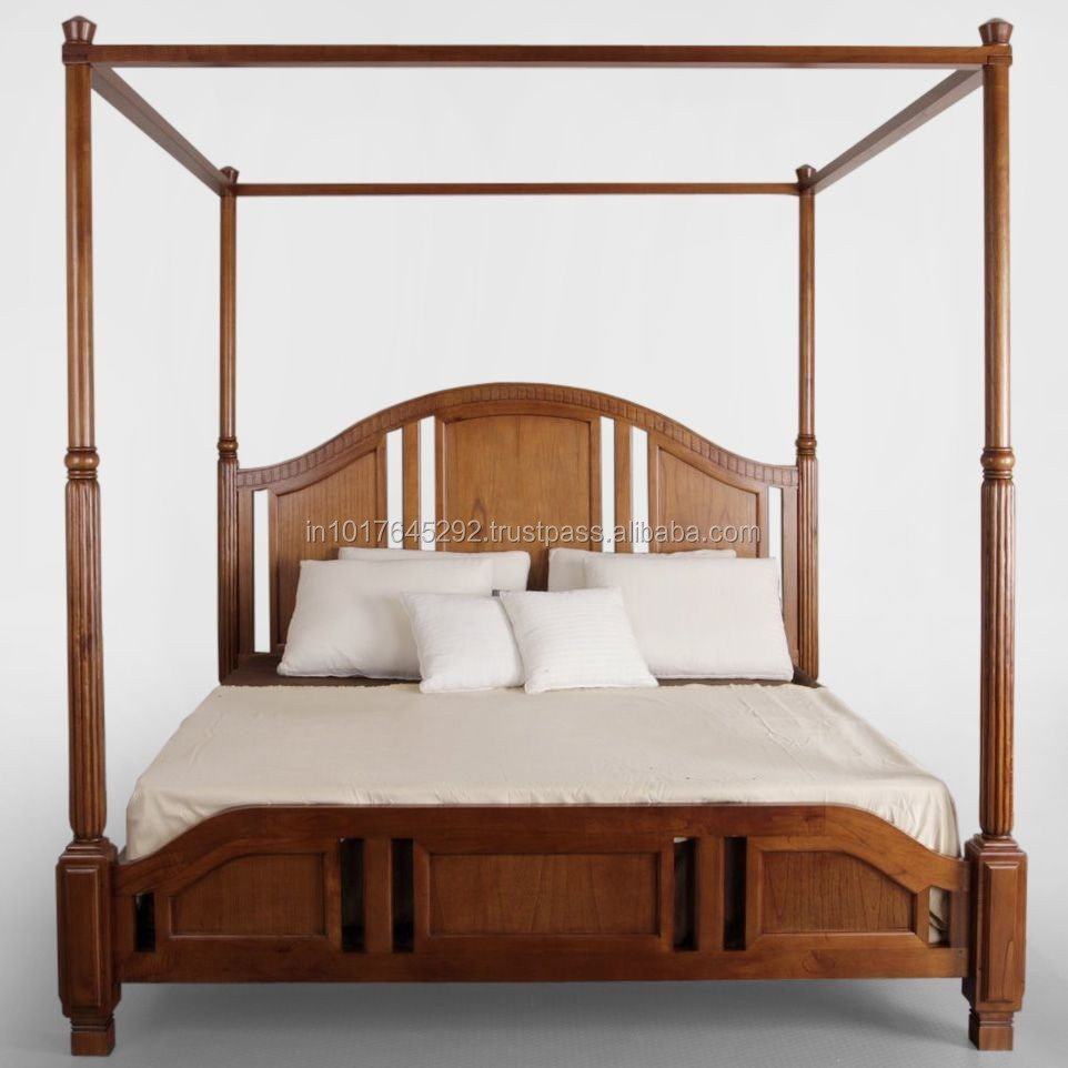 - Wooden Furniture Bedroom Furniture Carved Headboard Canopy Bed