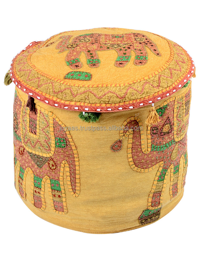 Patch Work And Elephant Embroidered Round Cotton Ottoman Pouf Cover For Floor Seating