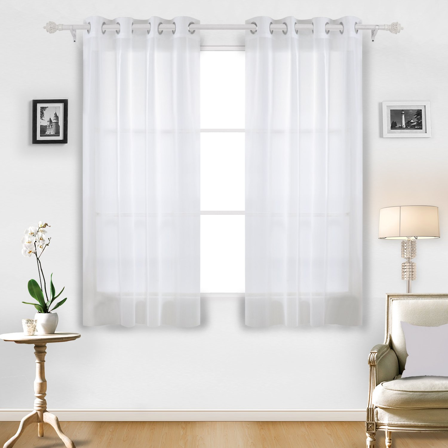Buy Deconovo Home Decorations Sheer White Curtains Grommet Curtains Voile Curtains Delicate Sheer Curtains For Dining Room 52w X 63l Inch White 2 Drapes In Cheap Price On Alibaba Com