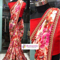Wedding Wear Embroidery Work Georgette Sarees Wholesale Collection