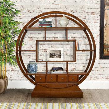 Book Rack Round Oriental Natural Teak Wood Furniture Buy Bookcases