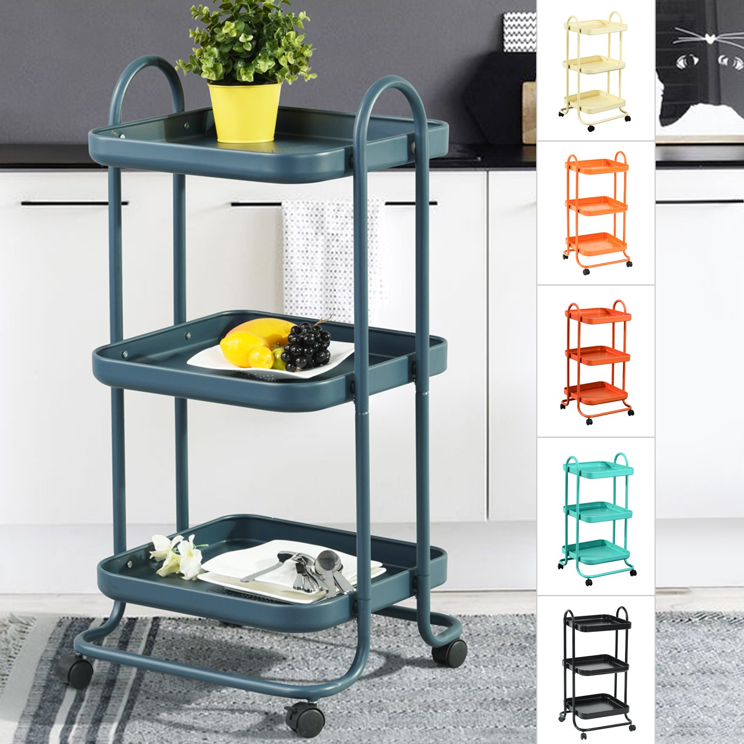 3-Tier Metal Utility Service Rolling Handle Storage Kitchen Office Medicine Trolley Kid Room Cart with wheels in Dark Grey