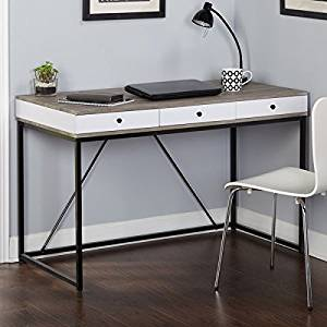 """Contemporary and Modern Desk in Black, Gray and White Colors, Laminate, MDF and Metal, Finish Reclaimed Desk, Office and Home Desks, Bundle with Expert Guide """"Quality in Our Life"""""""