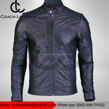 Mens Navy Blue Biker Leather Jacket Hot Sell Leather Jacket Made In