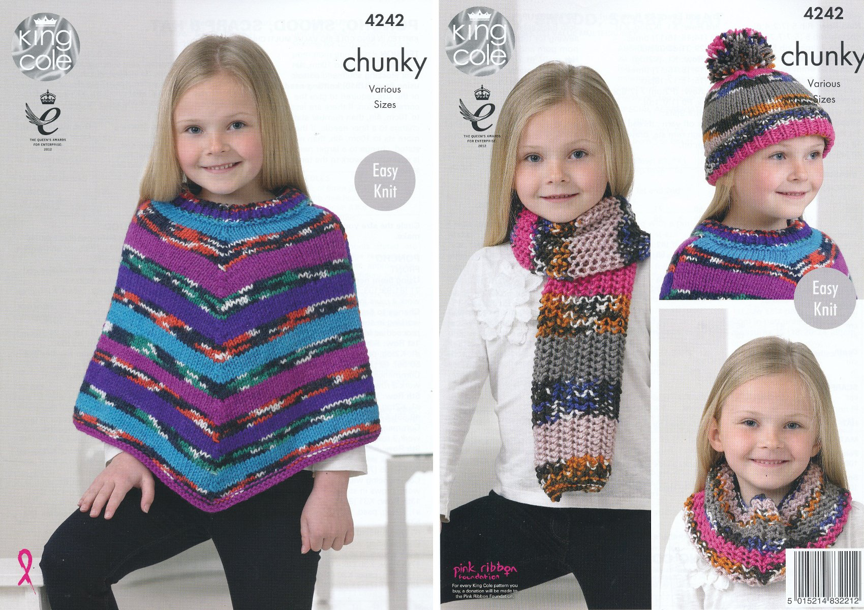 658a473426b Get Quotations · King Cole Girls Big Value Multi Chunky Knitting Pattern  Easy Knit Poncho Snood Scarf   Hat