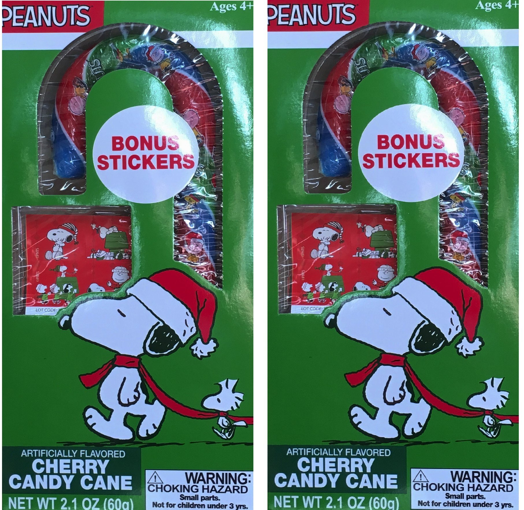Snoopy and Peanuts Cherry Artifically Flavored Christmas Candy Cane Gift Set Net Wt 2.1 Oz (Pack of 2)