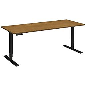 """Bush Sit Stand Desk Dimensions: 72""""W X 30""""D Height 23"""" Low - 49""""H & Operates At Speed Of 1.5"""" Per Second - Natural Cherry/Black"""