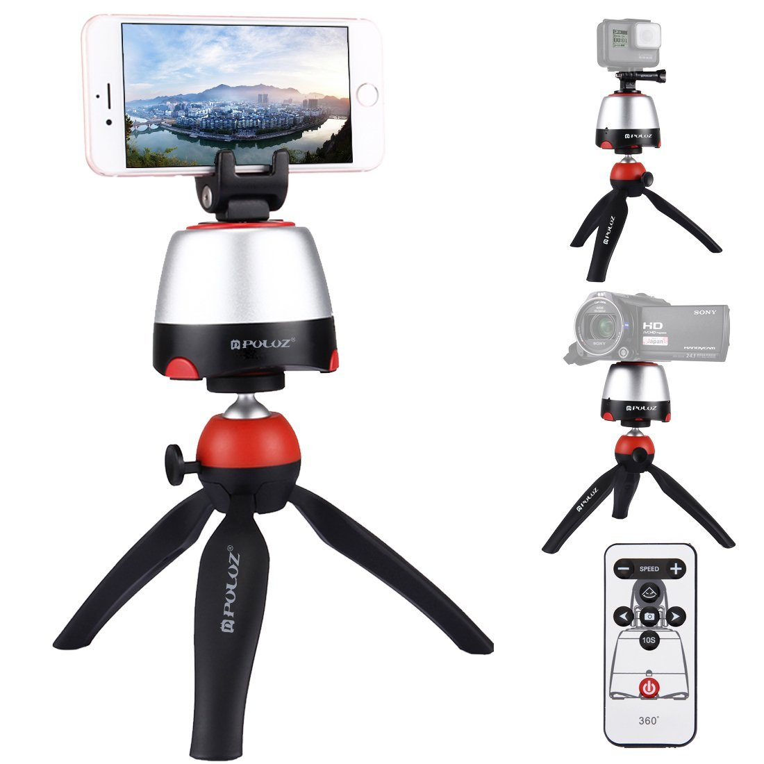 PULUZ Pocket Mini Tripod Mount with 360 Degree Ball Head for Smartphones, GoPro, DSLR Cameras (Red)