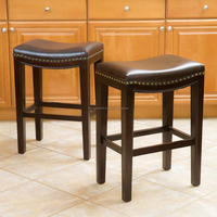 26-inch Brown Bonded Leather Backless Counter Stool (Set of 2)