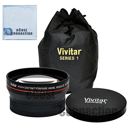 Vivitar Pro Series 62mm 0.43x Wide Angle High Definition Lens for Tamron Zoom Super Wide Angle 18-200mm f/3.5-6.3 XR Di-II LD Macro Lens and More Models + eCost Microfiber Cleaning Cloth
