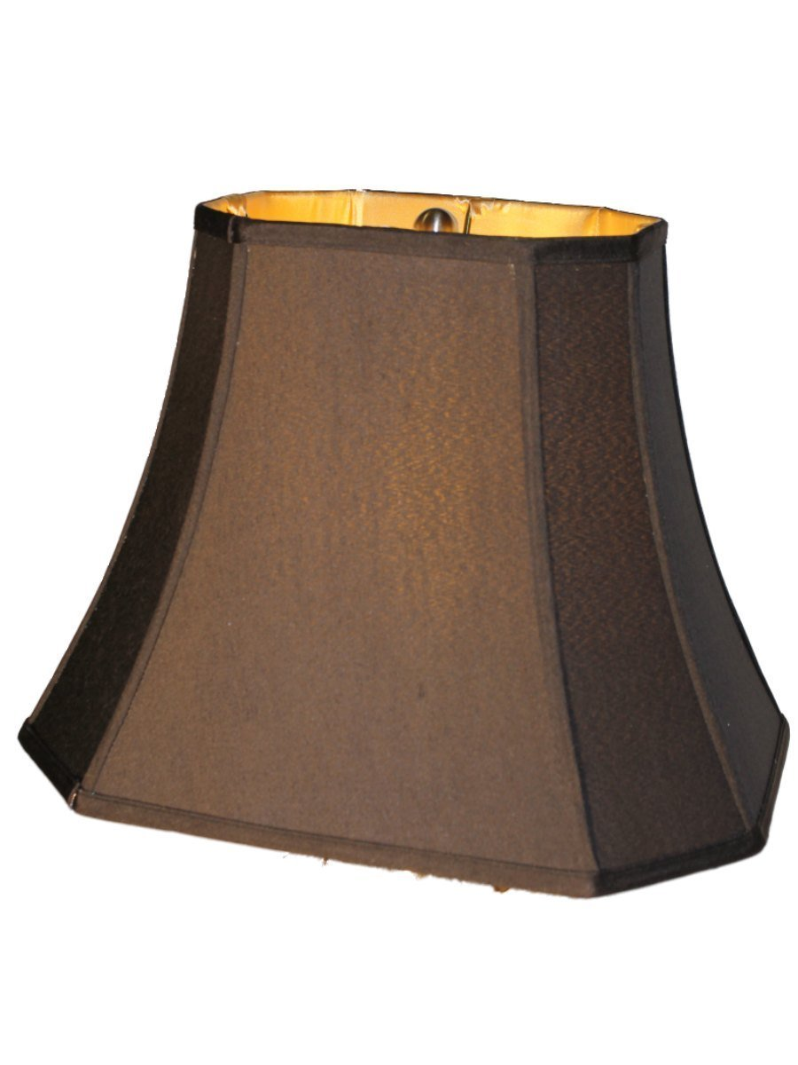 Upgradelights 16 Inch Black Silk Rectangular Style Lamp Shade with Gold Lining
