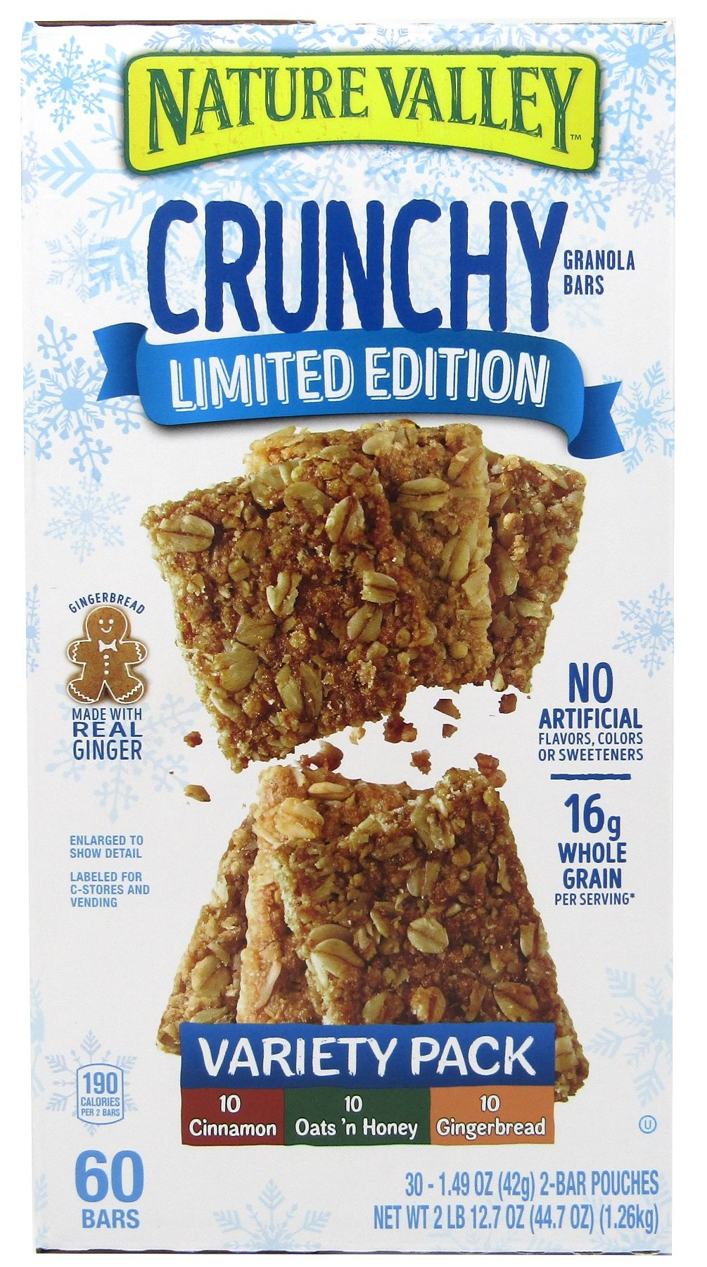 Nature Valley Limited Edition Granola Bars, Crunchy, Cinnamon, Oats n Honey, Gingerbread, Variety Pack, 30 Count