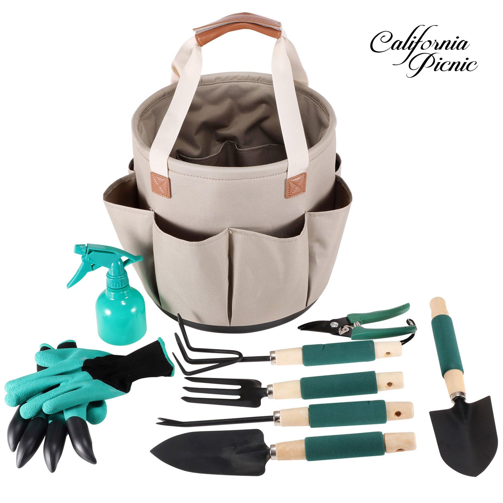 Garden Tool Organizer | Gardening Gifts | Gardening Tools Set | 9 Piece Garden Tool Set | Digging Claw Gardening Gloves Succulent Tool Set | Planting Tools | Gardening Supplies Basket | Rake Gloves