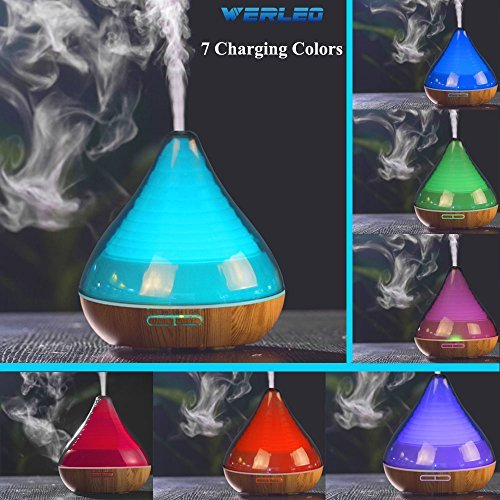 Aromatherapy Essential Oil Diffuser,Werleo 300ml Wood Grain Ultrasonic Cool Mist Whisper Quiet Aroma Air Humidifier 7 Color LED Light Changing 4 Timer Setting Waterless Auto Shut-Off for Spa Baby Home
